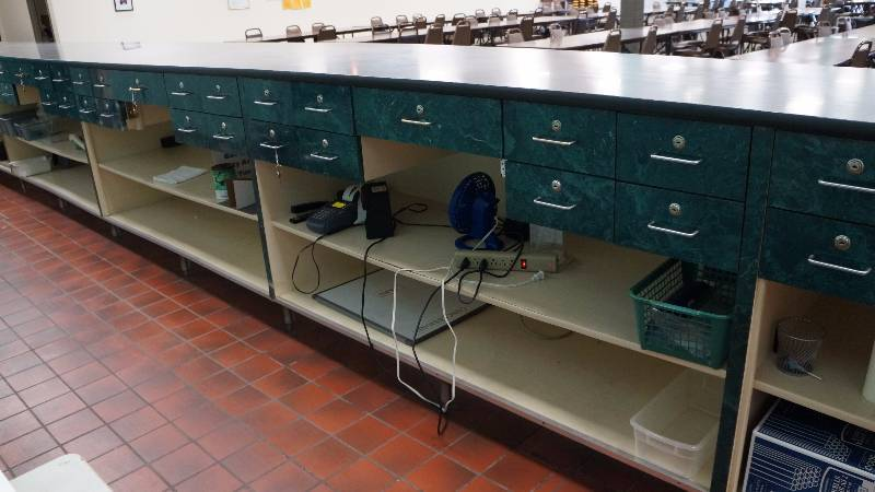 Built In Cabinet With Countertop Shelving And 54 Locking Drawers Bingo Hal