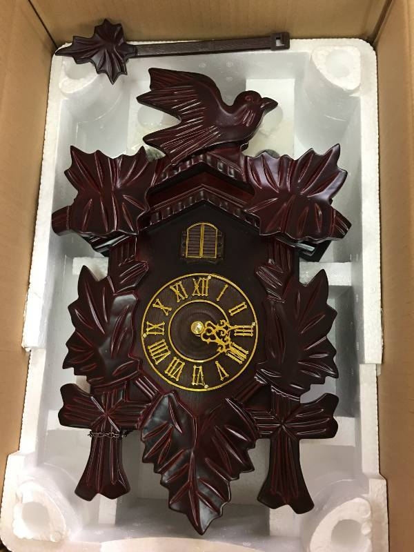 Pendulum cuckoo wall clock cherry retail 89 november merchandise liquidation 1 k bid - Cuckoo pendulum wall clock ...