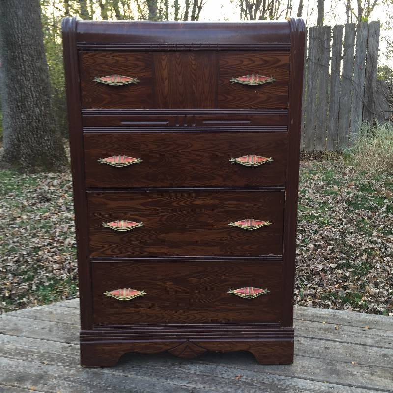 Antique Chic 1920 S Art Deco Waterfall Tall Dresser With