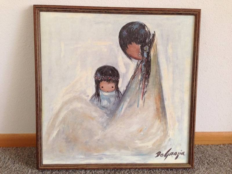 "Oil Painting of Indian Mother and Child ""Navajo Mother ..."