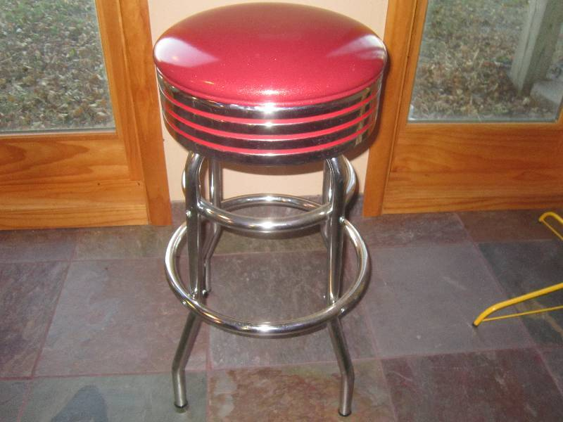 Mint Condition Chrome And Red Leather Bar Stool 1950s
