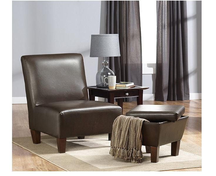 Alcove Accent Chair With Storage Ottoman