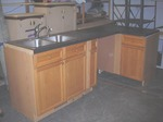 L-Shaped Kitchen Cabinet Set, Counter, Stainless Sink With Faucets- 96 Inches x 45 Inches x 37 Inches