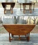 WOW! Vintage WILLIAM & MARY Antique Style Mahogany Drop Leaf Gateleg Oval Dining Table Gorgeous Turned Legs