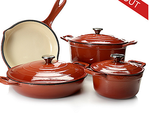 Cook's Tradition® Eight-Piece Stick-Resistant Enameled Cast Iron Cookware Set Copper