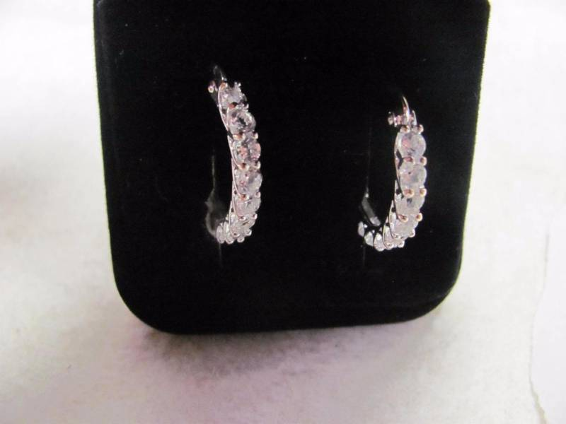 b9e74460b Sterling Silver Crystal Hoop Earring New Catalog Item from a major Online  Retailer! Includes Gift Box. This lot ships for a flat $6.00 Save on  Shipping When ...