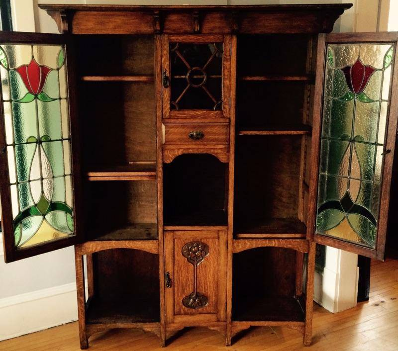 antiqued kitchen cabinets arts amp crafts nouveau oak cabinet no 6 antique 10693