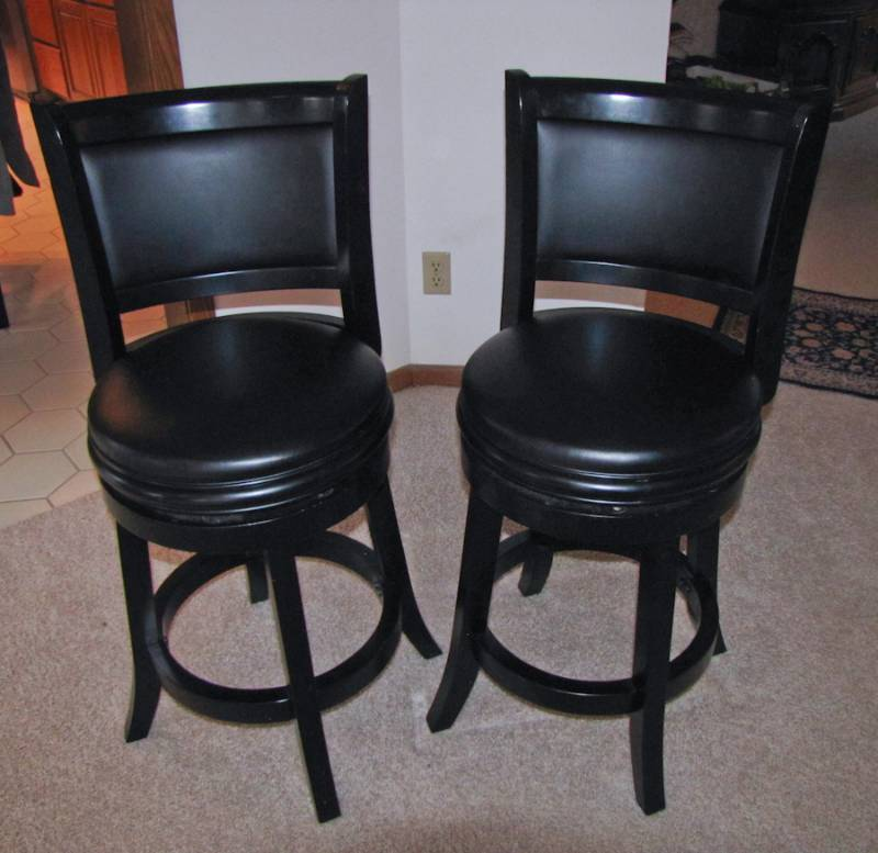 Two high end tall black swivel bar stools twc bluemoon for High end bar stools
