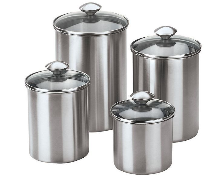 stainless steel kitchen canister chef s 4pc stainless steel canister set sota 22166