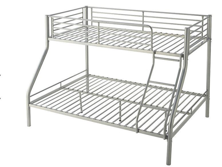 Alcove Trio Twin Full Bunk Bed Silver Sota Surplus