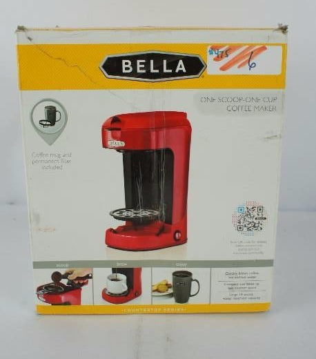 Bella Coffee Maker Filter Size : BELLA One Scoop One Cup Coffee Maker Overstock General Merchandise #475 K-BID