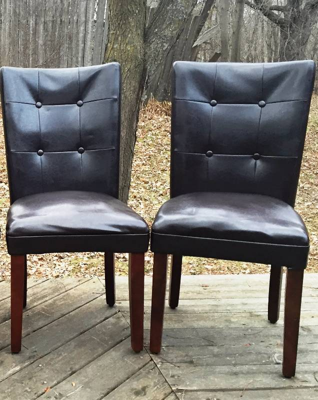 This is the second set pair kirklands faux black leather for Black leather parsons chairs