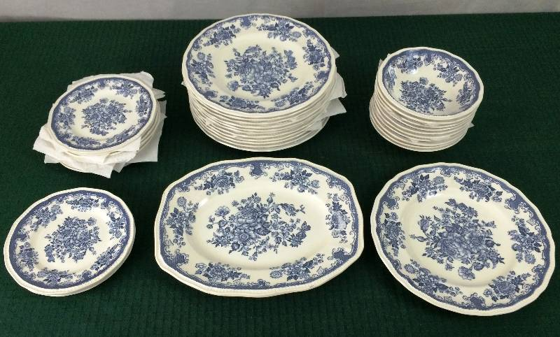 ELEGANT SET OF 34 PIECES DINNERWARE STAFFORDSHIRE KENSINGTON BALMORAL BLUE IRONSTONE ENGLAND FLORAL 1801 DINNER PLATES BREAD u0026 BUTTER PLATES BOWLS u0026 12  ... & Jireh Trading Company Community Benefit Auction #12 in Maple Grove ...