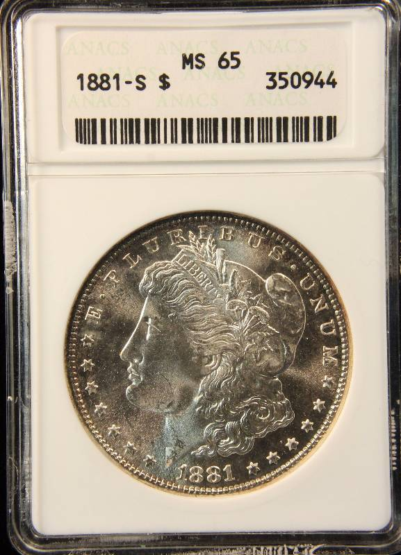 1881 S Morgan Silver Dollar Ms 65 Anacs Gem Unc Colorful