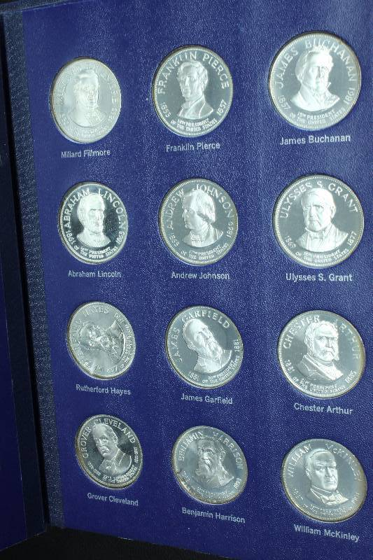 1970 S 925 Sterling Silver Presidential Coin Set In Book