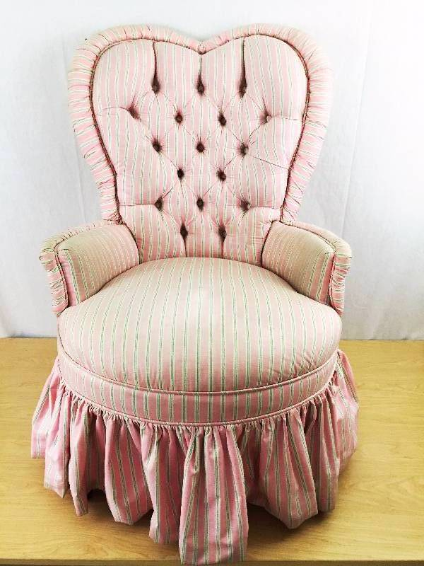 Vintage Valentine Heart Shaped Candy Pink Stripe Tufted Boudoir Chair....Sweet!  | Jireh Trading Company Community Benefit Auction #16 | K BID