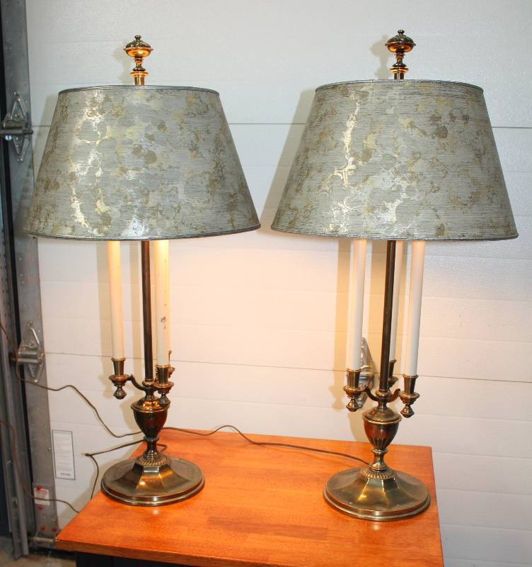 Set of antique stiffel lamps red shed sales k bid for Off set floor lamp