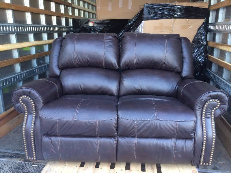 Berkline Reclining Leather Loveseat New Slight Damage On Arm See Pictures Kx Real Deals