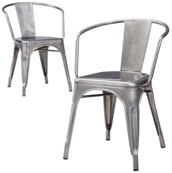 Carlisle Metal Dining Chair Natural Metal Set of 2  : 1598273 from www.k-bid.com size 566 x 571 png 166kB