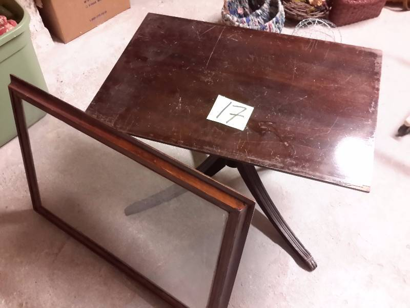 Very nice mahogany coffee table with removable glass top for Architectural salvage coffee table