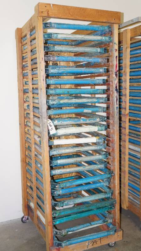 neumann screen printing frames 22 on wooden rack industrial