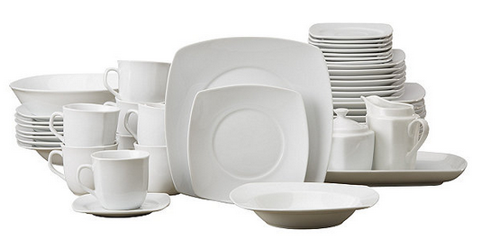 alcove 45pc Square White Porcelain Dinnerware Set | Half a Home 93 - Housewares Auction | K-BID  sc 1 st  K-BID.com : white porcelain square dinnerware - pezcame.com