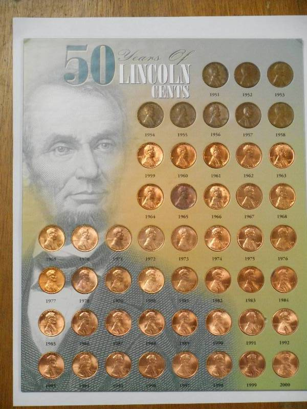 50 Years of Lincoln Cents Penny 1951-2000 on Card in Booklet