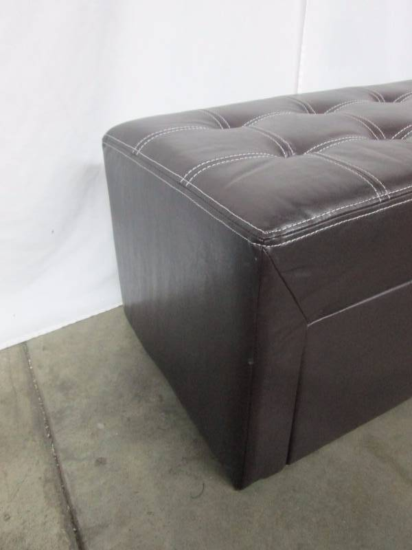 Alcove Leather Look Bench Ottoman With Drawer March