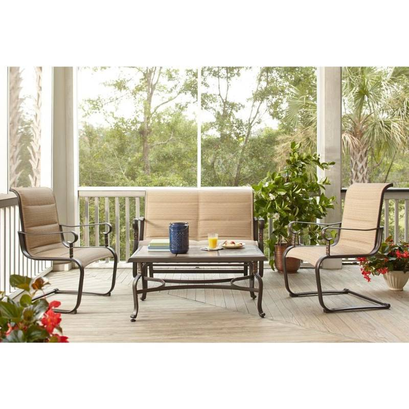 Hampton bay belleville padded sling 4 piece patio seating set model fcs80231rst new kx real Model home furniture auction mn