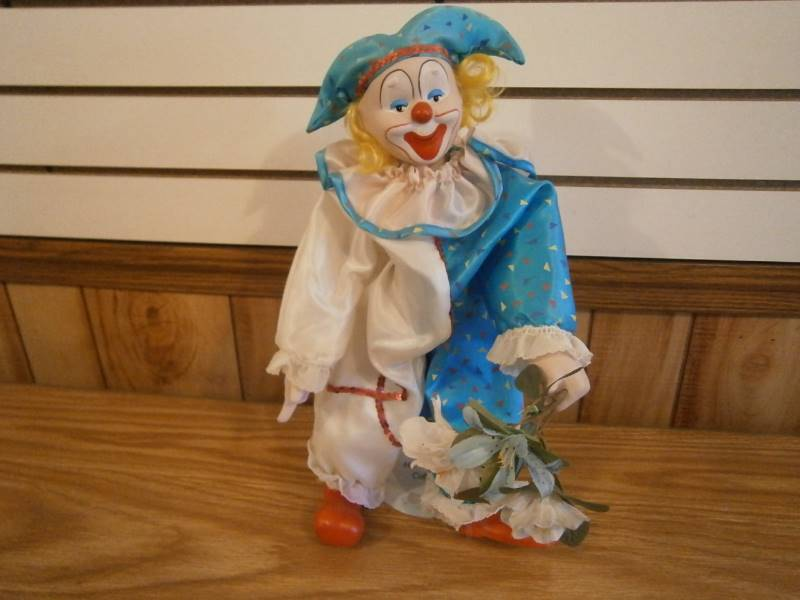 Porcelain Clown Figurine/Doll w/stand | Estate Collection of Teddy