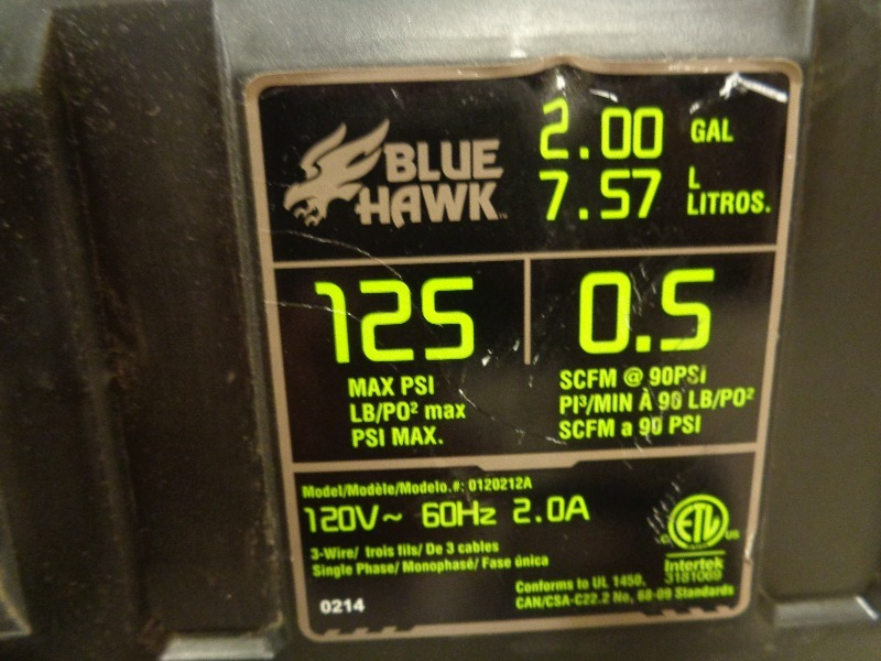 2 Gallon Blue Hawk Air Compressor Tools Furniture
