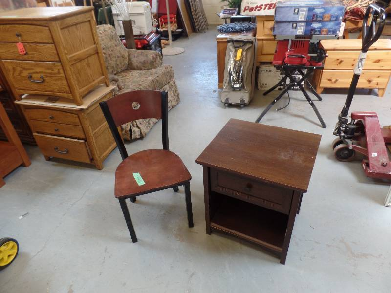 Strage Table And Chair. Sauder Veeneer Table Has One Drawer For Storage And  Is In Fair Condition. 22 X 19 X 24. The MTS Chair Has A Metal Frame And A  Wood ...