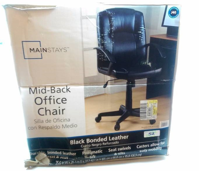 mainstays mid back black leather office chair toys pet goods