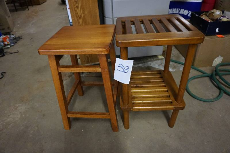 Wood Bar Stool With Wood End Table Spring Estate