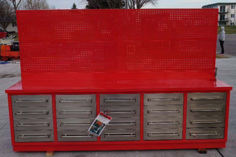 10 Foot All Steel Workbench With Metal Peg Board