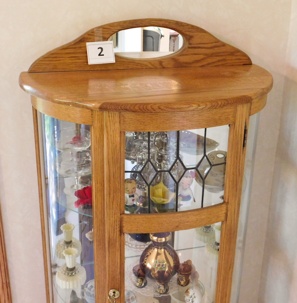 Honey oak solid wood curved glass curio cabinet twc