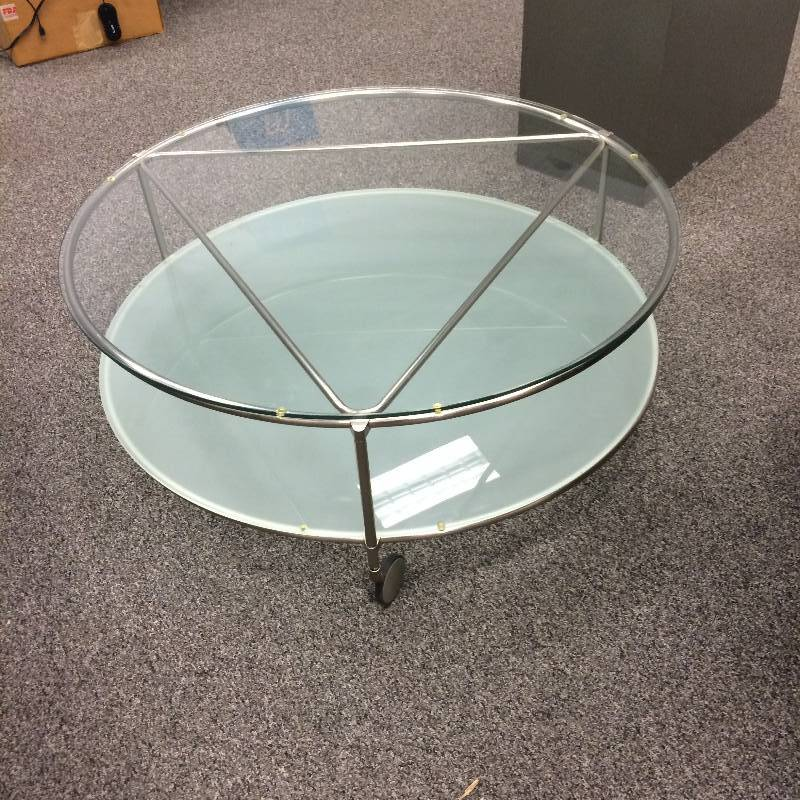 Ultra Modern Contemporary 40 Double Glass Chrome Round Coffee Table On Wheels Like New