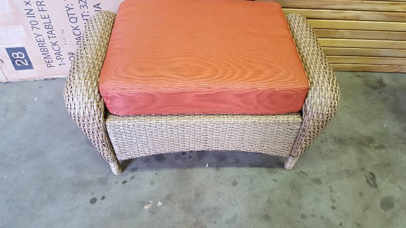 Charlottetown Natural All Weather Wicker Patio Ottoman With Quarry Red  Cushion .u0027 Part 77