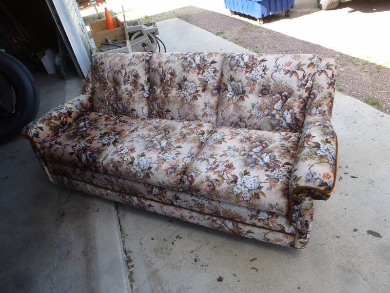 Floral sofa sleeper ncs race track liquidation 2016 k bid for Liquidation de sofa