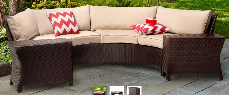 Harrison 6 Piece Wicker Sectional Patio Seating Set Half
