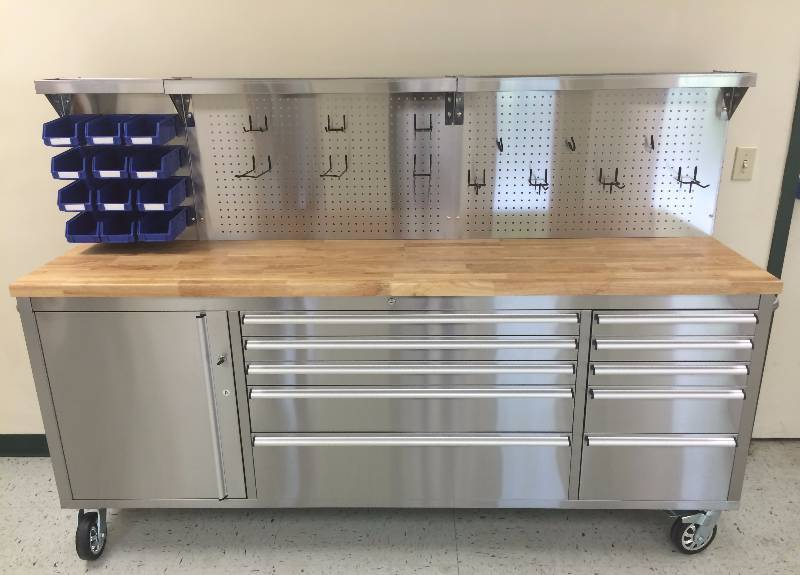 New Stainless Steel 84 Inch Tool Bench With Pegboard