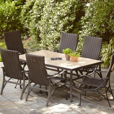 Hampton bay pembrey rectangular patio dining table frame for Best deals on dining tables and chairs