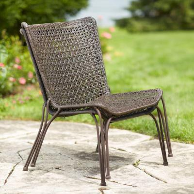 Hampton bay arthur all weather wicker patio stack chairs for Real wicker outdoor furniture