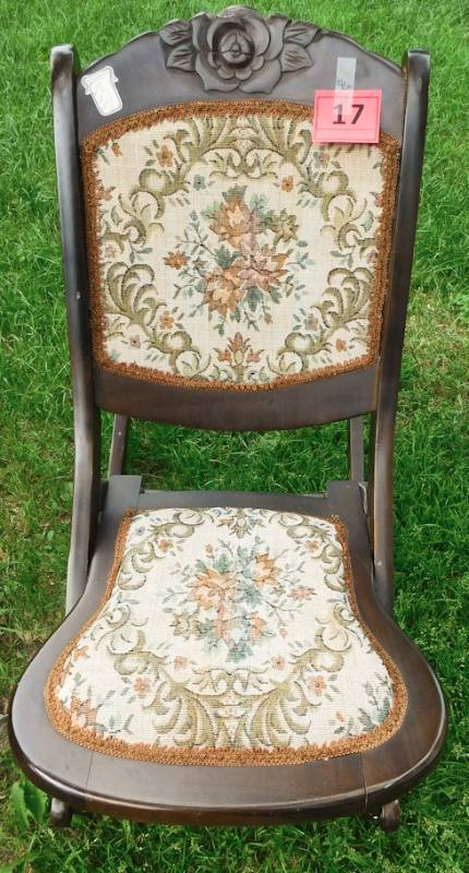 Vintage Folding Rocking Chair With Embroidered Seat