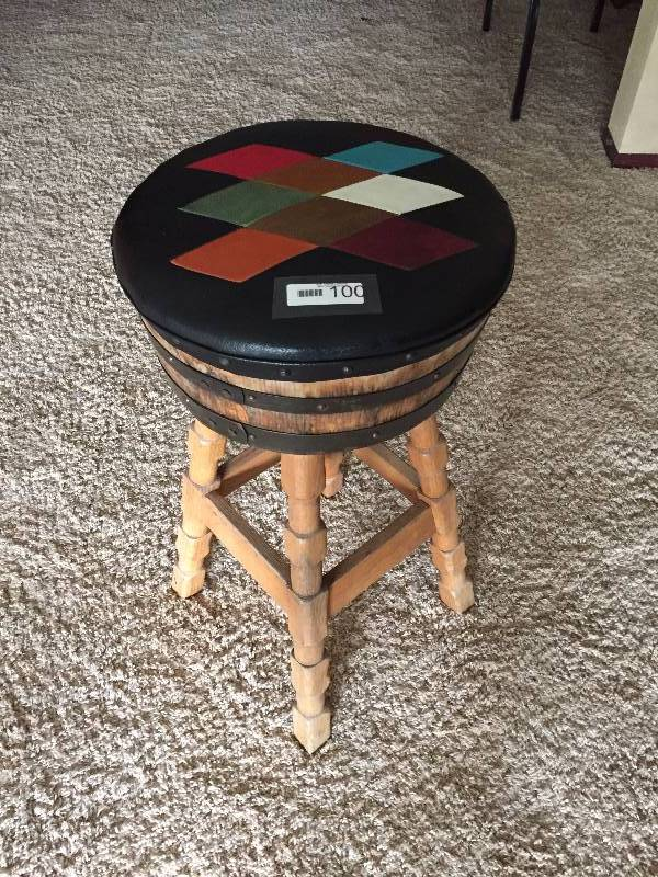 Brothers Furniture Vintage Whiskey Barrel Bar Stool Argyle