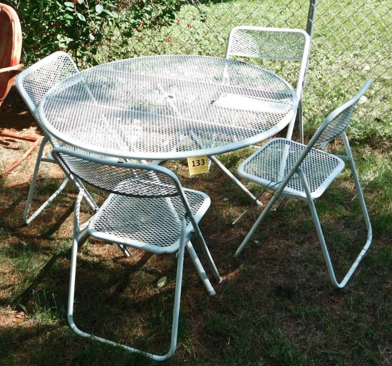white wrought iron patio set table and chairs twc long