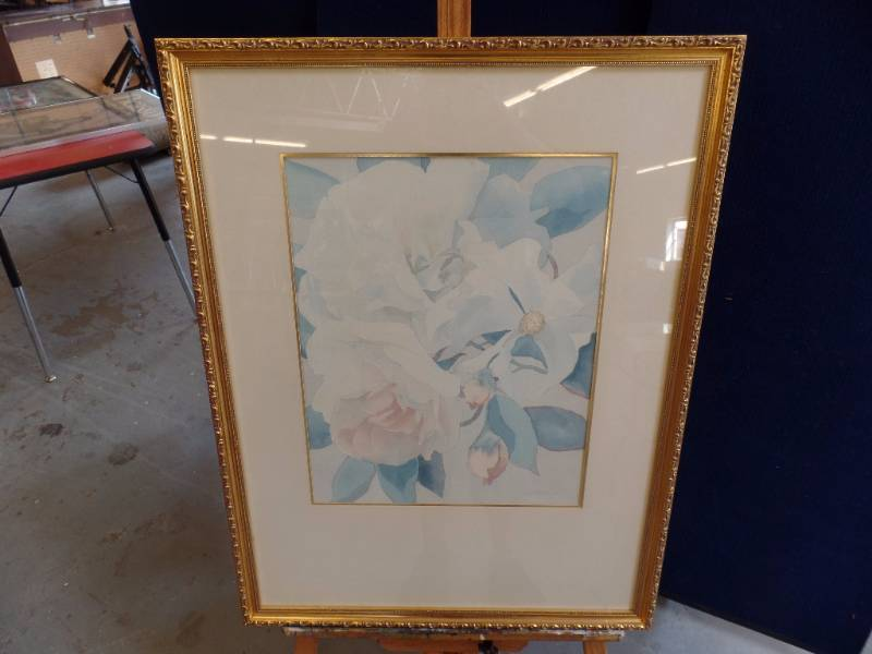 signed watercolor in elegant gold frame 26 x 34 including the frame and in nice condition