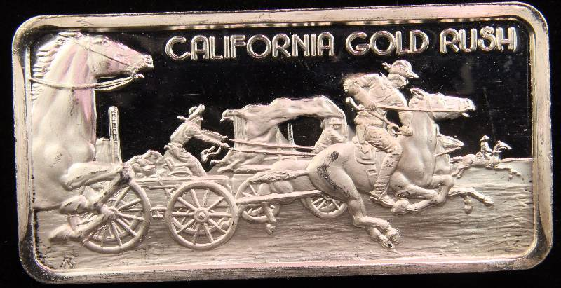 1 Troy Oz 999 Fine Silver Bar California Gold Rush
