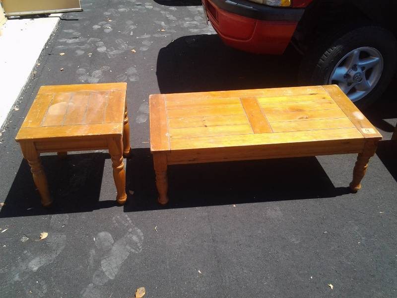 2 Pieces Knotty Pine Coffee Side Table 48x24x16 22x20x20 Furniture Slot Machine Musical