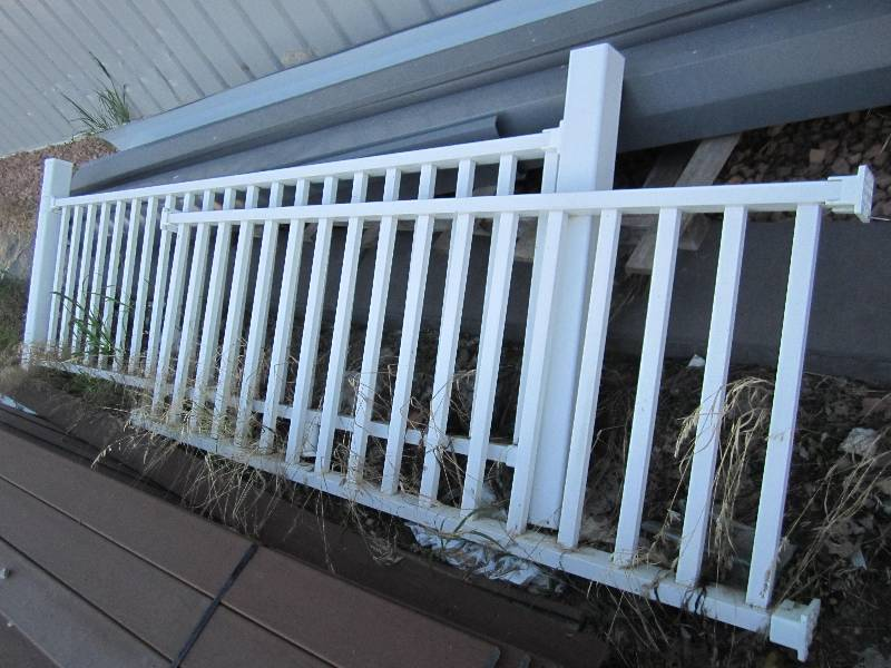 White plastic deck railing one decking